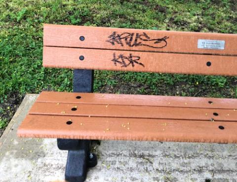 Vandalised bench